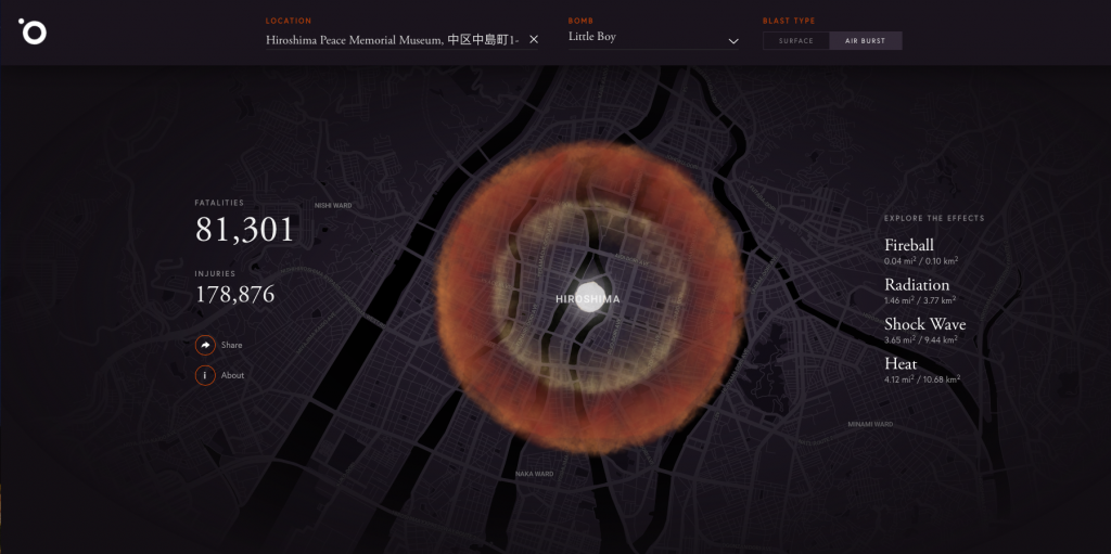Blast Radius of the Hiroshima Blast